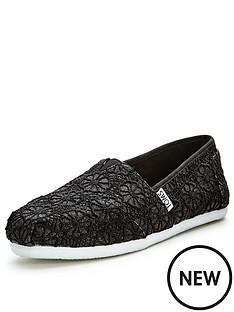 toms-classic-black-glitter-crochet-slip-ons