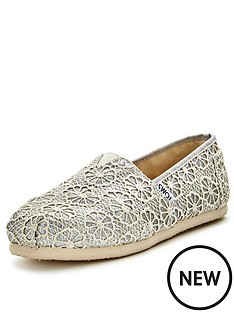 toms-classic-silver-crochet-slip-ons