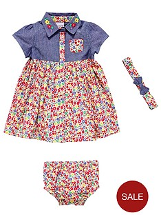 ladybird-baby-girls-chambray-and-woven-floral-dress-set-3-piece