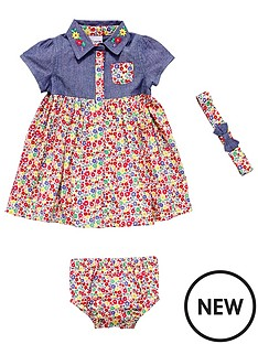 ladybird-baby-girls-chambray-and-woven-floral-dress-set