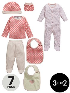 ladybird-baby-girls-layette-spot-and-animal-sleepsuit-bib-hat-and-mittens-7-piece-set