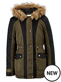 freespirit-girls-pu-panel-coat-with-fur-hood