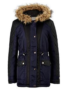 freespirit-girls-pu-panel-coat-with-fur-hood