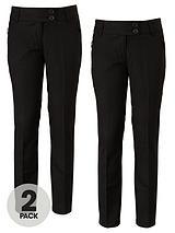 Girls Teflon Coated Tapered Zip Pocket School Trousers (2 Pack)