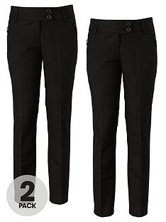 top-class-girls-teflon-coated-tapered-zip-pocket-school-trousers-2-pack