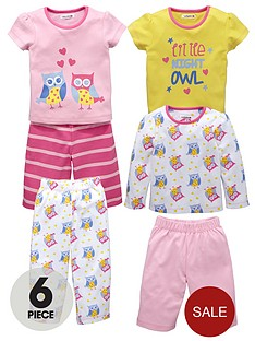 ladybird-toddler-girls-6-piece-owls-pyjama-set