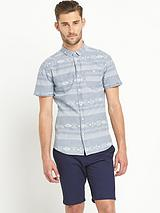 Mens Short Sleeve Aztec Denim Shirt - Blue