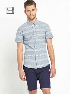 goodsouls-mens-short-sleeve-aztec-denim-shirt-blue