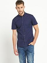 Mens Short Sleeve Poplin Shirt - Navy