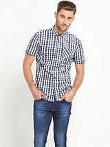 Mens Short Sleeve Check Shirt - Blue