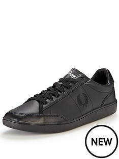 fred-perry-hopman-leather-plimsolls-black