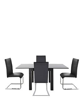 80-160-cm-gloss-square-to-rectangle-table-4-jet-chairs-buy-and-save