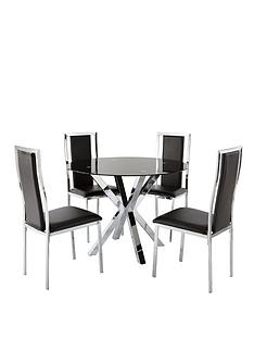 chopstick-100-cm-glass-and-chrome-round-dining-table-4-atlantic-chairs-black-buy-and-save