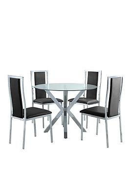 chopstick-100-cm-chrome-and-glass-round-dining-table-4-atlantic-chairs-clearblack-buy-and-save