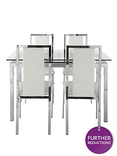 glide-glass-and-chrome-120-150-cm-extending-dining-table-4-atlantic-chairs-clear