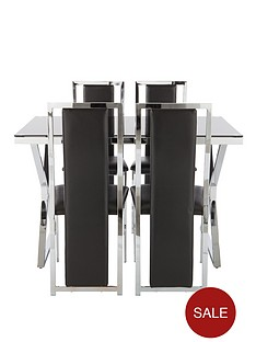 nevada-glass-and-chrome-dining-table-4-chairs-black