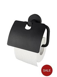aqualux-haceka-kosmos-toilet-roll-holder-with-lid-black