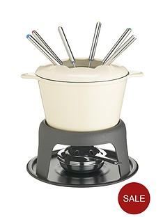 master-class-cast-iron-enamelled-fondue-set-cream