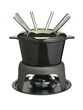 master-class-cast-iron-enamelled-fondue-set-black