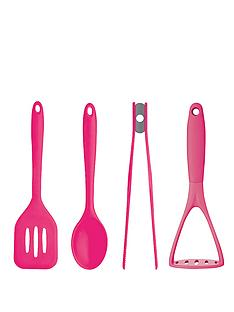 colourworks-4-piece-silicone-utensil-set-pink
