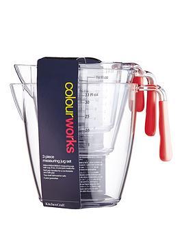 colourworks-3-piece-acrylic-measuring-jug-set-red