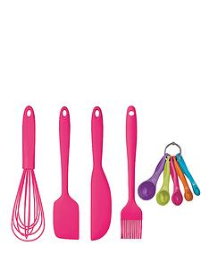 colourworks-5-piece-silicone-baking-and-preparing-set-pink