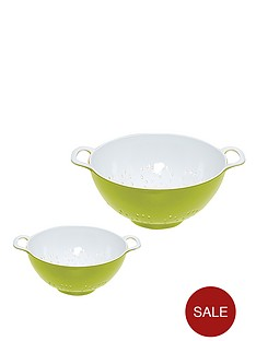 colourworks-2-piece-two-tone-melamine-colanders-green