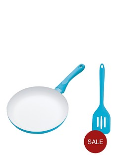 colourworks-24-cm-ceramic-non-stick-frying-pan-and-turner-set-blue