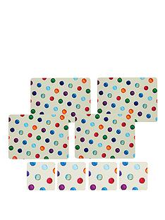 kitchen-craft-8-piece-cork-back-laminated-placemats-and-coaster-set-polka-dot
