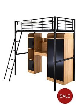 kidspace-ohio-high-sleeper-with-desk-wardrobe-storage-and-optional-mattress