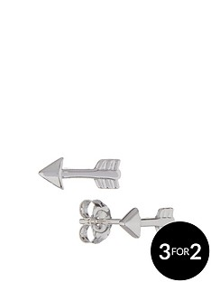 the-love-silver-collection-sterling-silver-rhodium-plated-arrow-stud-earrings