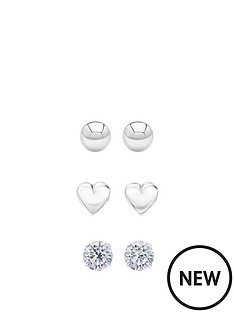 andralok-sterling-silver-set-of-three-5mm-ball-stud-heart-and-cubic-zirconia-stud-earrings