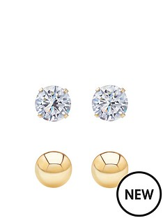 andralok-9-carat-yellow-gold-set-of-two-3mm-ball-stud-and-3mm-cubic-zirconia-stud-earrings