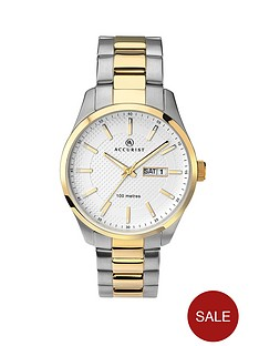 accurist-white-dial-stainless-steel-two-tone-bracelet-mens-watch