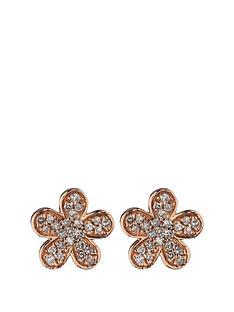 love-diamond-9-carat-rose-gold-16-point-pave-diamond-flower-earrings
