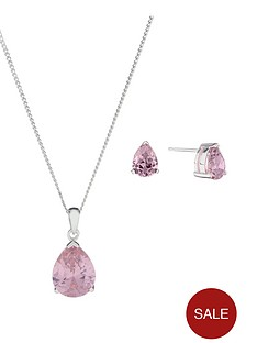 the-love-silver-collection-sterling-silver-pink-cubic-zirconia-pear-shape-pendant-and-earring-set