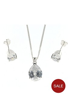 the-love-silver-collection-sterling-silver-white-cubic-zirconia-pear-shape-pendant-and-earring-set