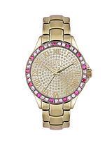 Gold Tone Bracelet Stone Set Ladies Watch