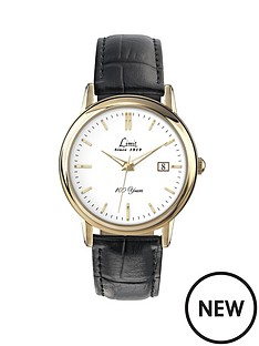 limit-gold-plated-white-dial-black-strap-mens-watch