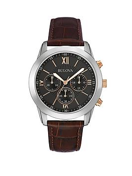 bulova-chronograph-stainless-steel-case-with-rose-gold-accents-and-black-leather-strap-black-dial