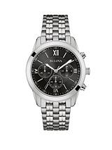 Bulova Chronograph Stainless Steel Case and Bracelet Black Dial Mens Watch