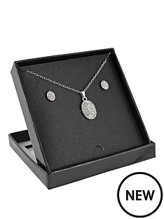 silver-tone-oval-crystal-pendant-and-earring-set