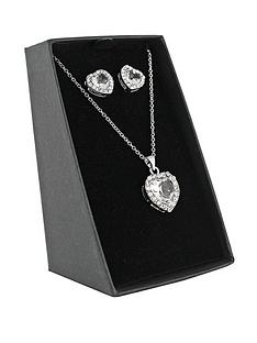 silver-tone-heart-shaped-pendant-and-earring-set