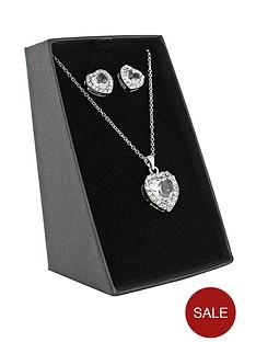 silver-tone-heart-shaped-pendant-and-earring-set
