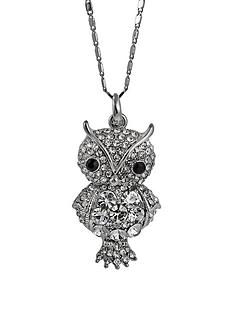 ladies-silver-tone-crystal-owl-pendant