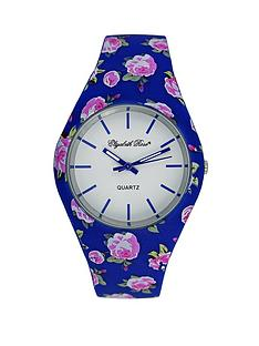 elizabeth-rose-midnight-blue-and-pink-floral-strap-ladies-watch