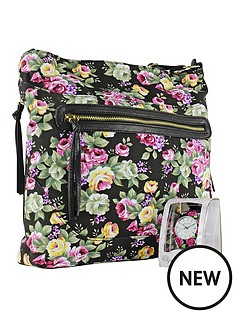 elizabeth-rose-black-and-pink-floral-strap-watch-floral-shoulder-bag-gift-set