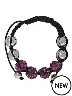 silver-tone-and-black-cord-purple-crystal-beaded-bracelet