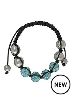 silver-tone-and-black-cord-blue-crystal-beaded-bracelet