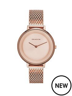 skagen-ditte-rose-gold-plated-stainless-steel-mesh-strap-ladies-watch